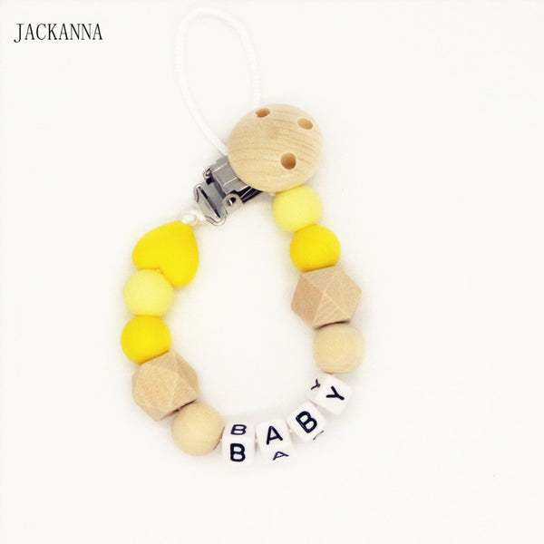 Personalized Name Silicone and Wooden Pacifier Clip Circle Non-toxic Soother Clips, Baby Shower Gifts, Teething Toy, Dummy Clips