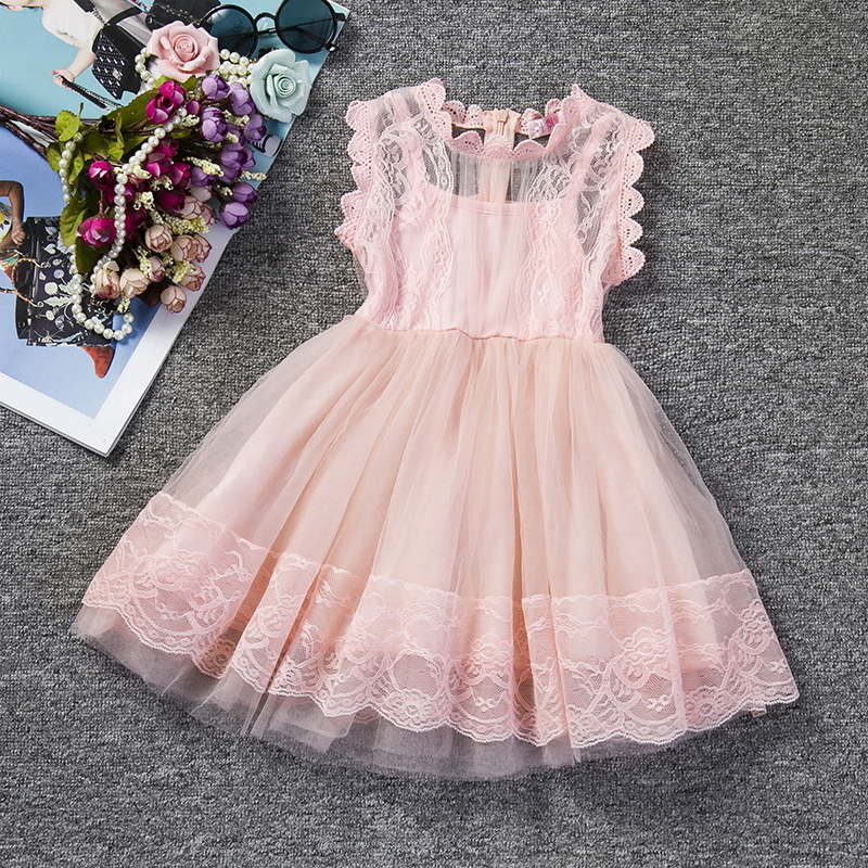 5a32cf1dfc83 Pink Kids Baby Girls Party Dresses Lace Princess Dress For Baptism ...