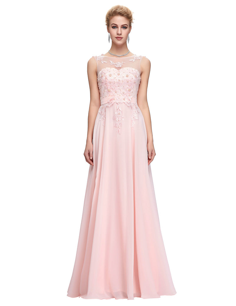 4872a9b715d Pink Lace Chiffon Evening Dresses V Back A-Line Maxi Evening Gowns ...
