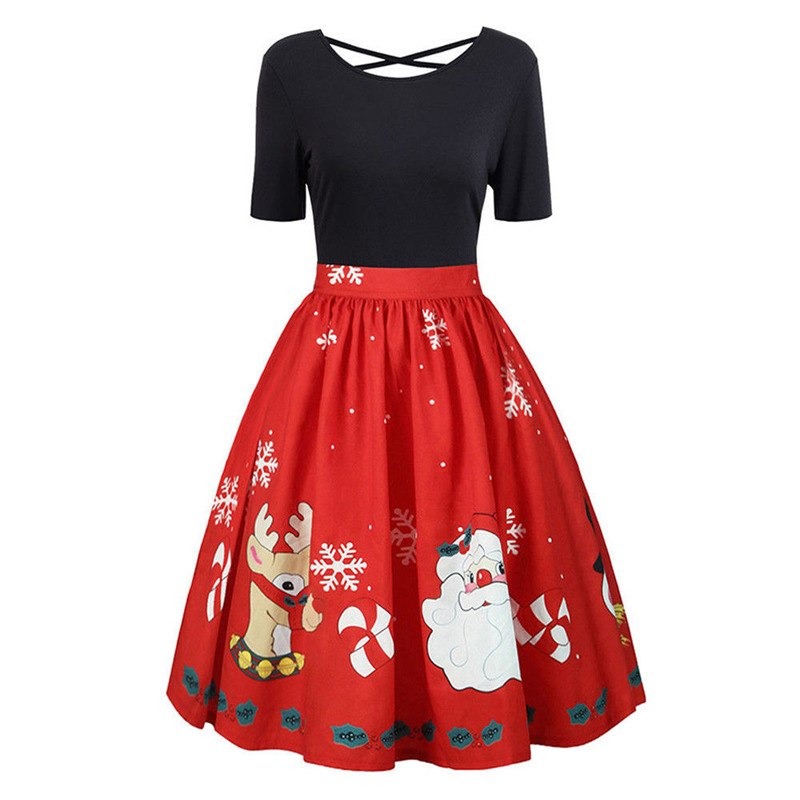 Christmas Evening Dresses.Plus Size Women Christmas Dress Swing A Line Santa Skater Xmas Short Sleeve Christmas Party