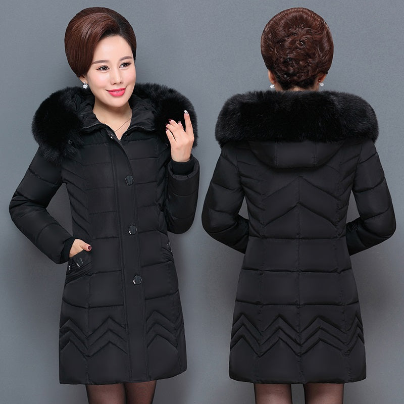 78b7e7e0c Plus size middle-aged womens clothing down jacket 2018 Korean winter hooded  cotton-padded coats