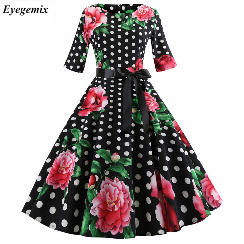 80ed25c8e5d0c Polka Dot Midi Dress Women Casual Slim Plus Size Floral Print Autumn  Dresses 1950S 60S Vintage
