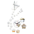 Popular 1set Butterflies Flower 3D Crystal Mirror Stickers Modern Acrylic Wall Clocks Without Battery Living Room Home Decor