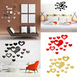 Popular DIY 3D Fashion Mirror Wall Stickers 16PCS A Set New Homes Baby Rooms Heart Shape Home Decoration