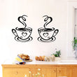 Popular  Fashion Coffee Cups Cafe Tea Wall Stickers Art Vinyl Decal Pub Kitchen Decor Modern Removeable
