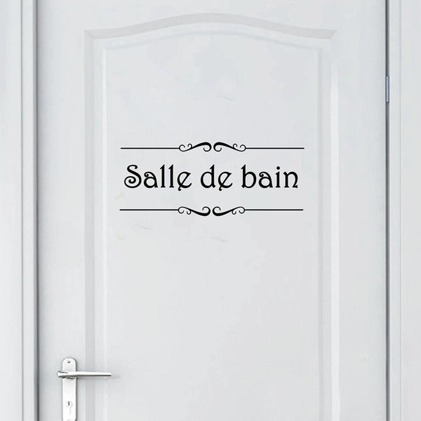 Porte Salle de bain et Toilettes Wall Sticker French Bathroom Toilet Door Wallpaper Mural Decals Vinyl Wall Sticker Home Decor