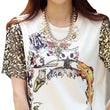 Print T Shirt Women 2017 Summer T-shirt Female Sequins Short Sleeve Punk Novelty Tshirt Women Loose Tops Tee Shirt Femme B181