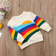 Pudcoco Baby Girls Kids Casual Long Sleeve Hoodies Clothes Rainbow Striped O-Neck Pullover