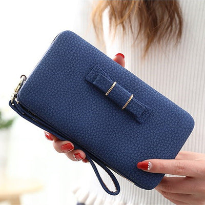 Purse bow wallet female famous brand card holders cellphone pocket PU leather women money bag