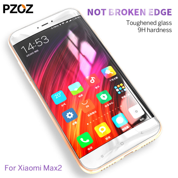Pzoz xiaomi mi max 2 Tempered Glass Cover xiaomi mimax 2  Screen Protector HD Transparent Film xiomi mi max 2 xiami 2.5D 6.44
