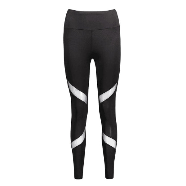 Quick-drying Net Yarn Yoga Pants Black High Waist Elastic Running Fitness Slim Sport Pants Gym