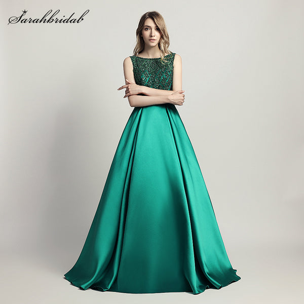 Real Photos 2018 New Styles Elegant Long Evening Dresses  A Line Crystal Luxury Party Gowns Formal
