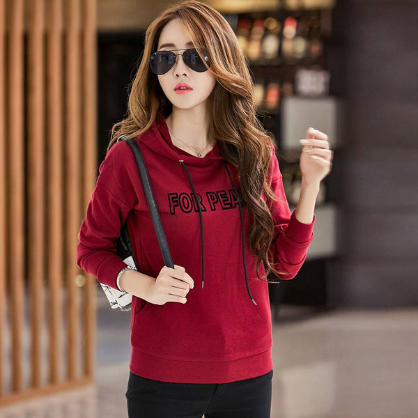 Red Hoody Women Autumn Letter Print Pullovers Long Sleeve Spring Hoodies Bts 2017 Casual Letter Sweatshirt For Women Tops CS1816