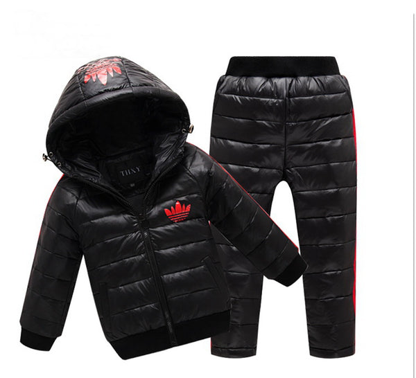 Retail autumn winter children Eiderdown cotton leisure suit boys girls comfortable warm