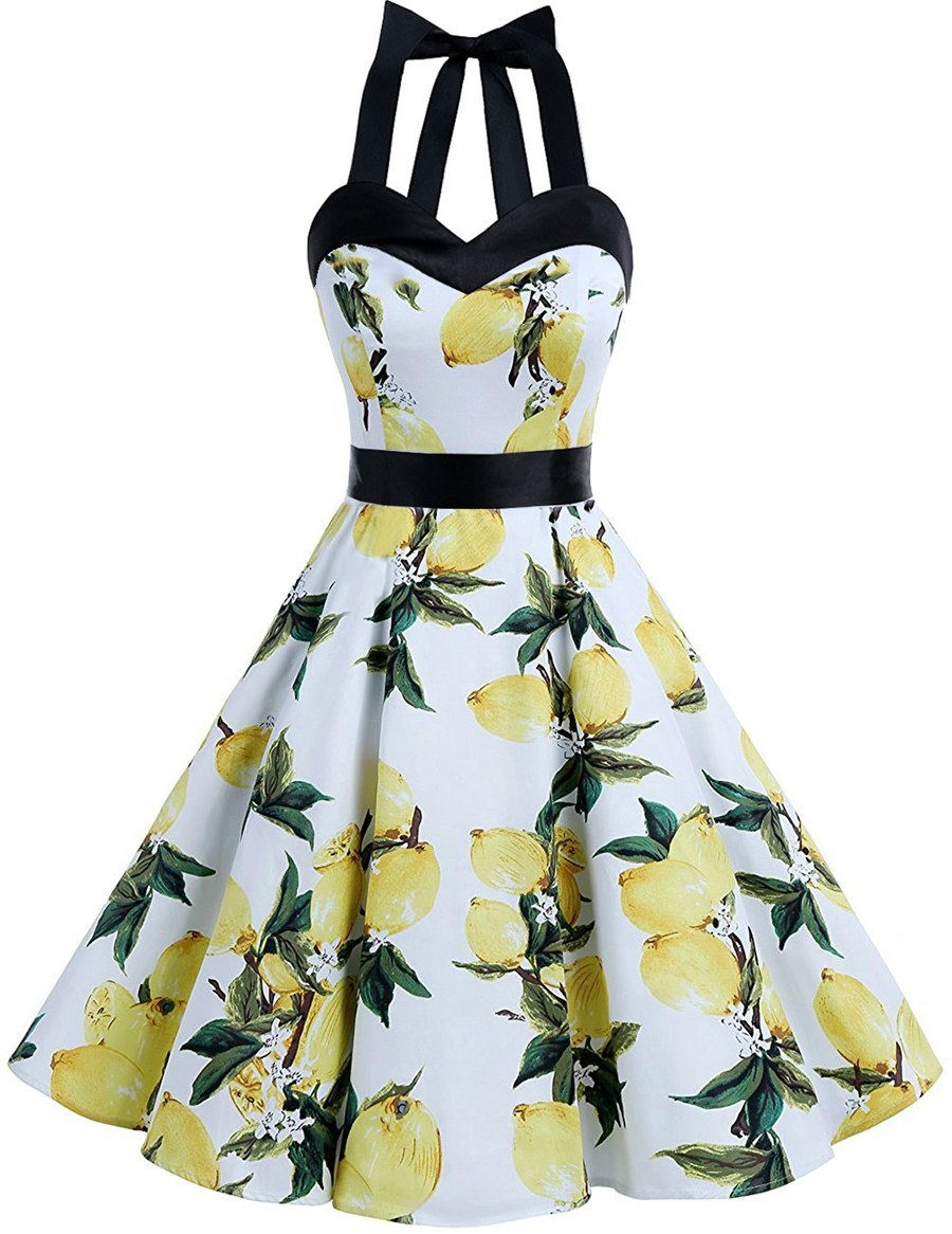 4d775aabf52 Retro Vintage Style Sleeveless Dress Skull Floral Printed 2018 ...