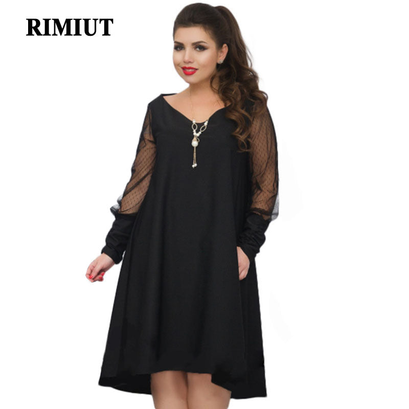 26b5a9f1e89 Rimiut Casual Embroidery Women Dresses Big Sizes 3 Colors Mesh Long Sleeve  Sexy V Neck Bodycon Plus Size Loose Fat MM Dress – Beal
