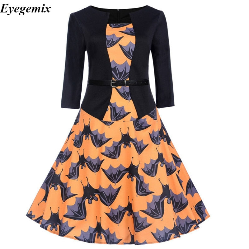 9761e6c74a8 Robe Halloween Femme Vintage Dress Autumn 2018 Fashion O-neck Printed OL  Pin Up 50s Rockabilly Party Winter Dresses Big Swing – Beal