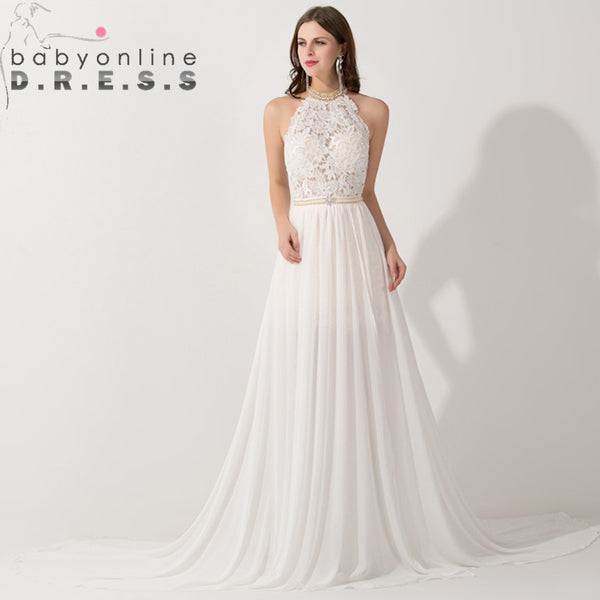 Romantic Ivory Lace Vestido de Noiva Beaded Sexy Backless High Low Beach Vintage Wedding Dress