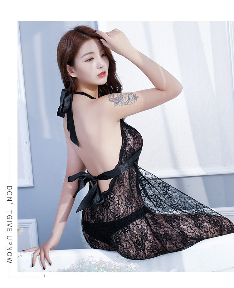 140ee6d18 Romantic Ladies Hot Sexy Sheer Lace Embroidery Nightdress Open Back Ha –  Beal