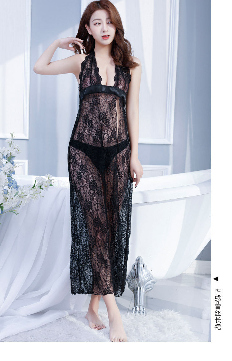 d381202ee Romantic Ladies Hot Sexy Sheer Lace Embroidery Nightdress Open Back ...
