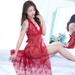 72259b80a Romantic Ladies Hot Sexy Sheer Lace Embroidery Nightdress Open Back Halter  Nightgowns Perspective Midnight Charming Lingerie