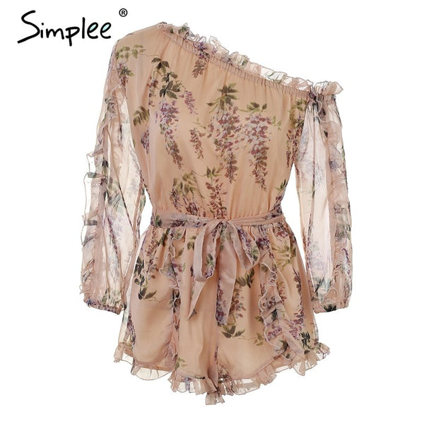 Ruffle off shoulder print jumpsuit women Elegant sash long sleeve sexy jumpsuit 2018 New