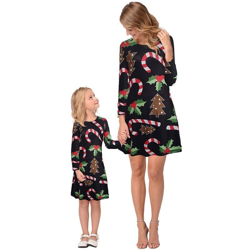 ca3c5bf6530ec Ruiyige 2018 Family Christmas Clothes Mom Daughter Dress Women Girls ...