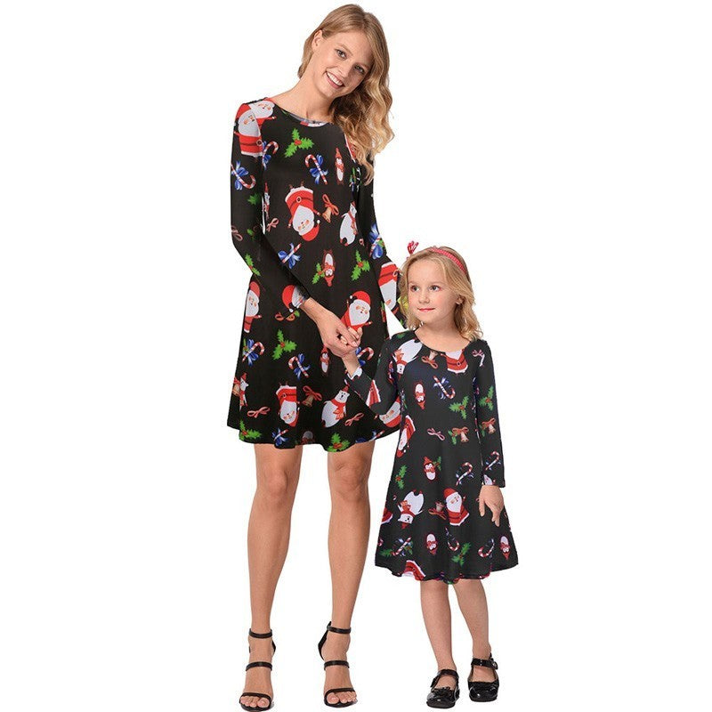 f429215d0d04 Ruiyige 2018 Mother-Daughter Christmas Dress Autumn Women Girls Long ...