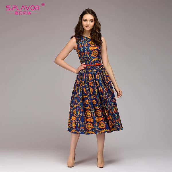S.FLAVOR Women Indie Folk Style printing summer dress 2018 Spring Summer sleeveless O-neck Draped