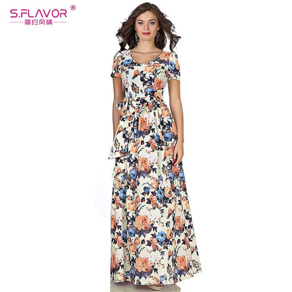 S.FLAVOR Women Long Dress Short Sleeve V-neck Casual Bohemian Style Dress for Female Women