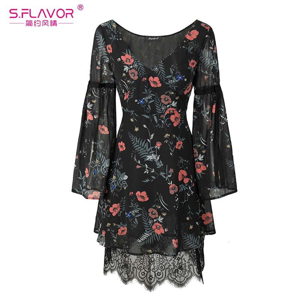 S,FLAVOR Women chiffon lace mini dress hot sale autumn winter V-neck flare sleeve elegant