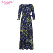 S.FLAVOR Women printing long dress Elegant O-neck three quarter simple autumn dress for female