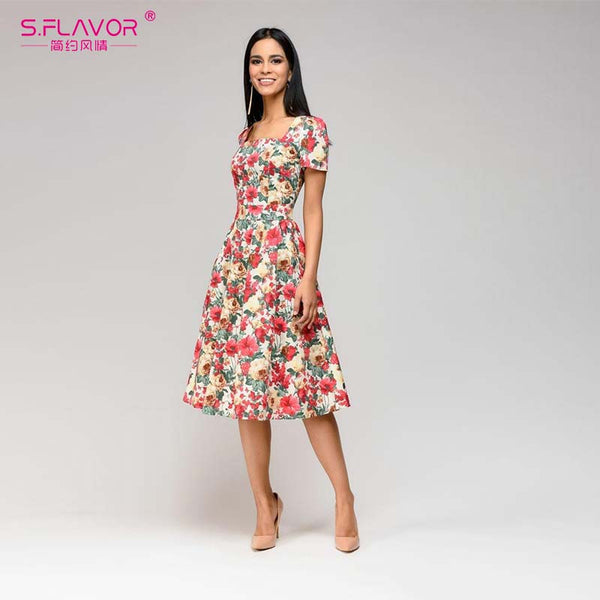 S.FLAVOR autumn printing A-line dress Casual Square Collar short sleeve short dress for female