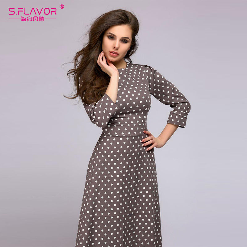 58cee0aa7de8f S.FLAVOR wave point long dress Women vintage style O-neck three quarter  sleeve Elegant vestidos