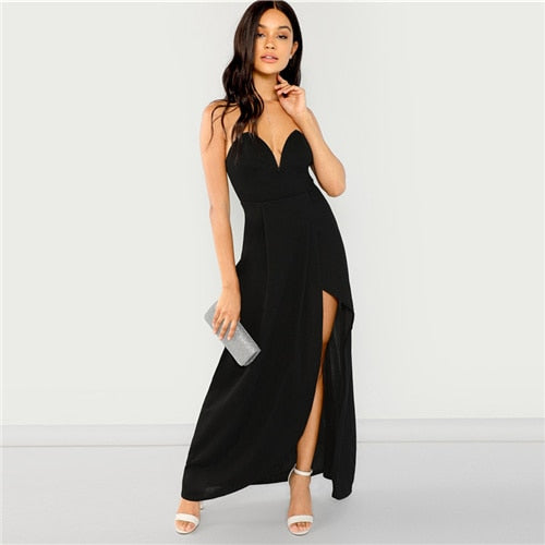 Black Bandeau Off Shoulder Split Solid Dress Party Sexy Plain Slim Maxi Dresses Women