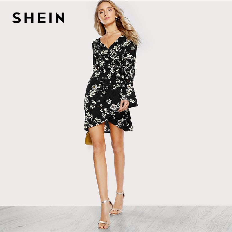 012b85e503 SHEIN Black and White Bell Sleeve Surplice Wrap Floral Dress Beach Vacation V  Neck Ruffle Dresses Women Autumn Bohemian Dress – Beal   Daily Deals For  Moms