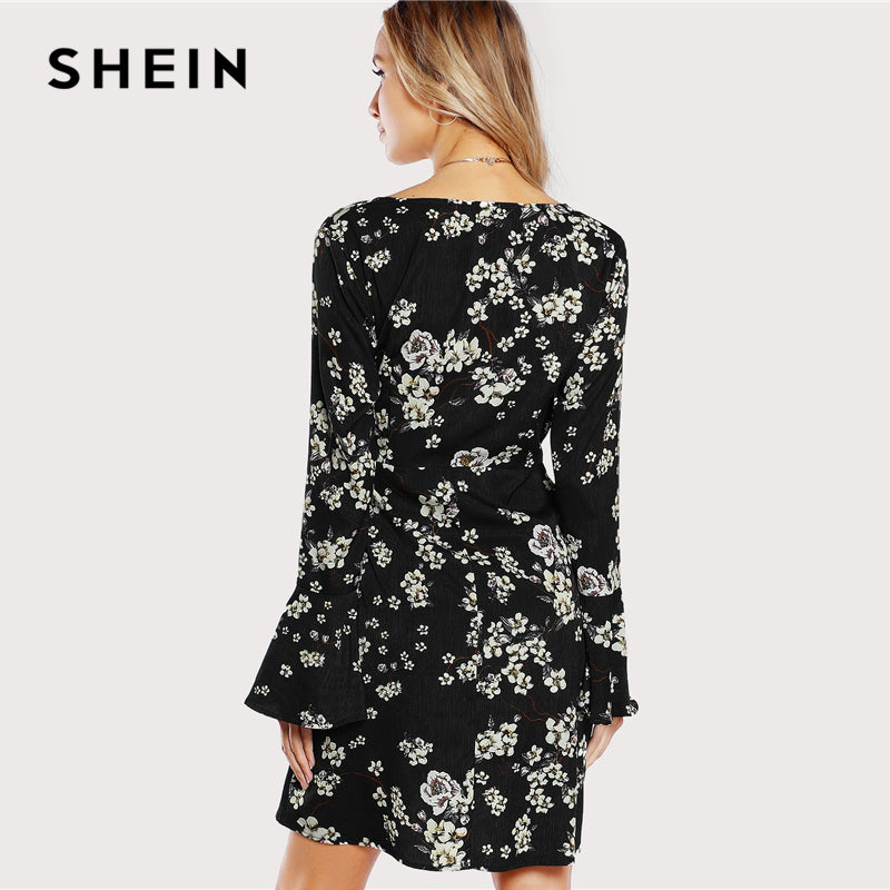 6dd47c87d1 SHEIN Black and White Bell Sleeve Surplice Wrap Floral Dress Beach Vacation  V Neck Ruffle Dresses Women Autumn Bohemian Dress – Beal | Daily Deals For  Moms
