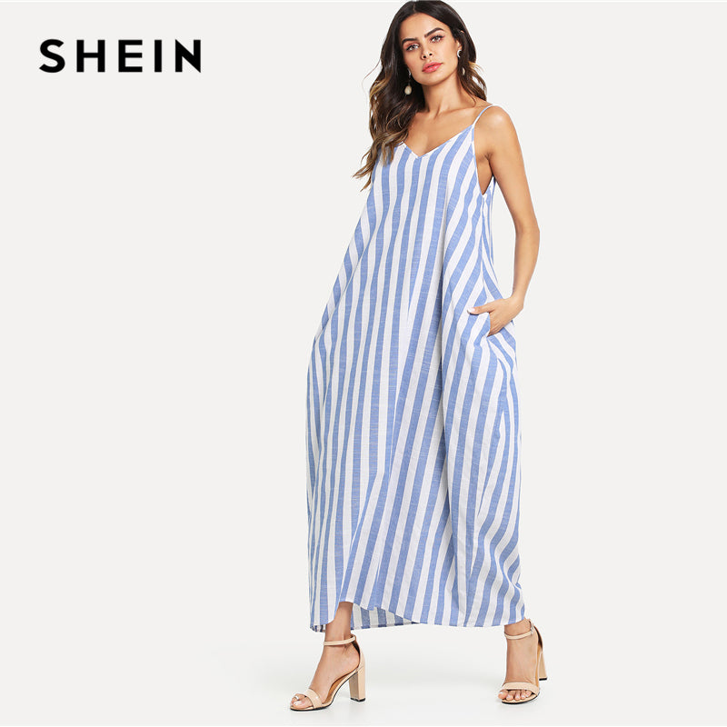 879a9fae21 SHEIN Blue Striped Summer Vacation Spaghetti Strap V-Neck Pocket Side  Oversized Cami Dress Women Clothing Beach Maxi Dress – Beal | Daily Deals  For Moms