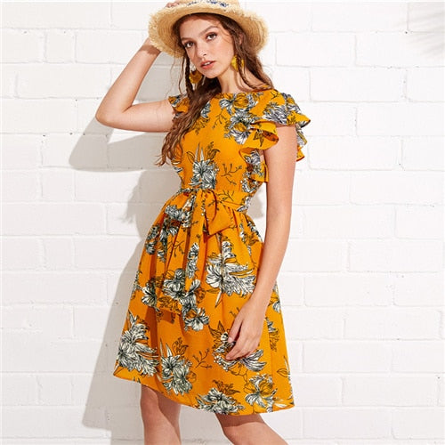 3a518a28ff6 Flutter Sleeve Self Belted Floral Dress 2018 Summer Butterfly Sleeve  Vacation Clothing
