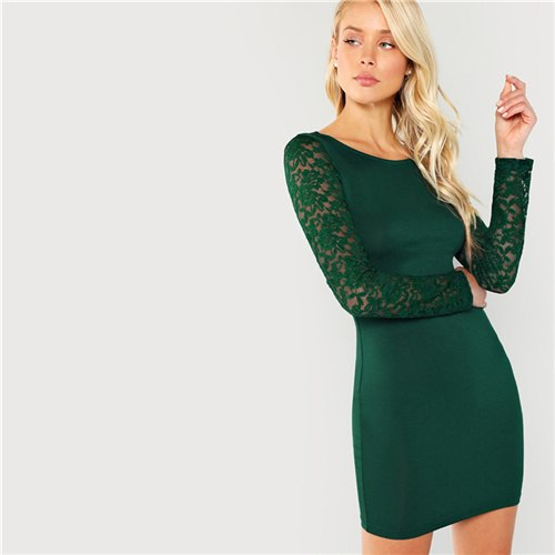 7a489e6504021 SHEIN Green Elegant Party Floral Lace Insert Form Fitting Long Sleeve  Workwear Solid Dress 2018 Autumn Casual Women Dresses – Beal | Daily Deals  For Moms