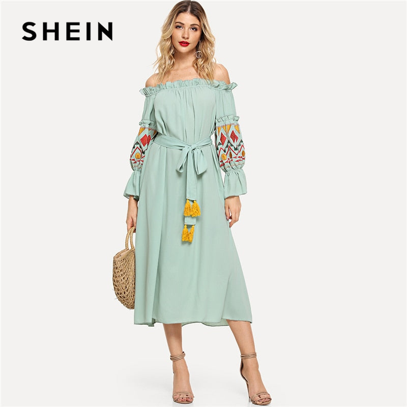 1fea0c7d0a SHEIN Green Embroidered Lantern Sleeve Bardot Dress with Tassel Belt  Vacation Off Shoulder Ruffle Knot Beach A Line Autumn Dress – Beal | Daily  Deals For ...