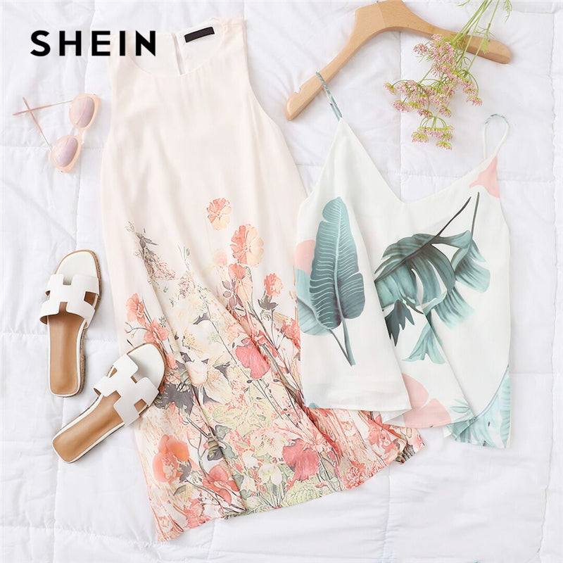 8e4173043177 SHEIN Ladies Multicolor Sleeveless Flower Print Boho Dresses New Arrival  Womens Summer Round Neck Cut Out Cute Shift Dress – Beal