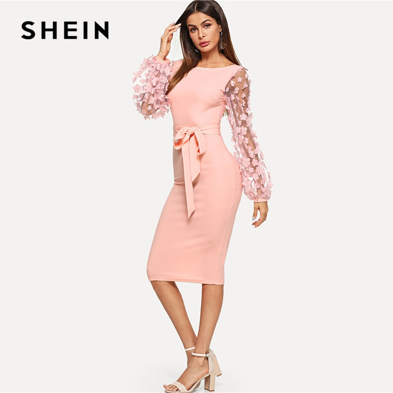 92ae6a2fd8898 SHEIN Pink Elegant Party Flower Applique Contrast Mesh Sleeve Form Fitting  Belted Solid Dress 2018 Autumn Women Casual Dresses – Beal | Daily Deals  For Moms