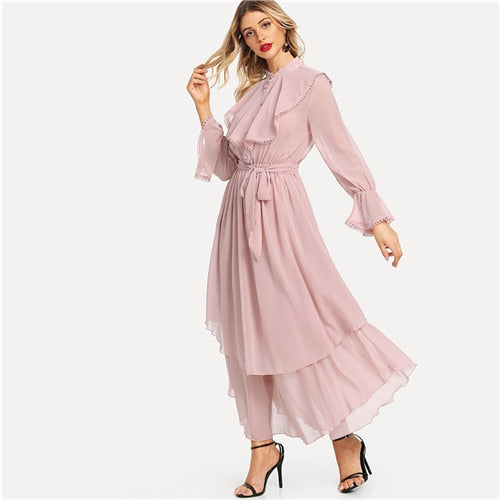 a6faa35fe7 SHEIN Pink Long Flared Sleeve Belted Hem Women Maxi Dresses Autumn New  Office Lady Ruffle Detail Crochet Trim Solid Flowy Dress – Beal | Daily  Deals For ...