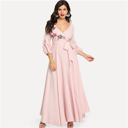 f56b5ba90e SHEIN Pink Vacation Boho Bohemian Beach Flower Embroidery Puff Sleeve High  Waist Maxi Dress 2018 Autumn Women Casual Dresses – Beal | Daily Deals For  Moms