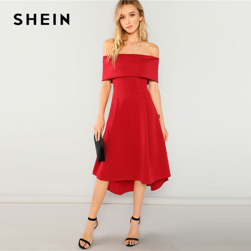 ed0d968f88 SHEIN Red Off Shoulder Ruffle Solid Dress Elegant Party Plain Shift Long  Sexy Dresses Women Autumn Modern Lady Dress – Beal | Daily Deals For Moms