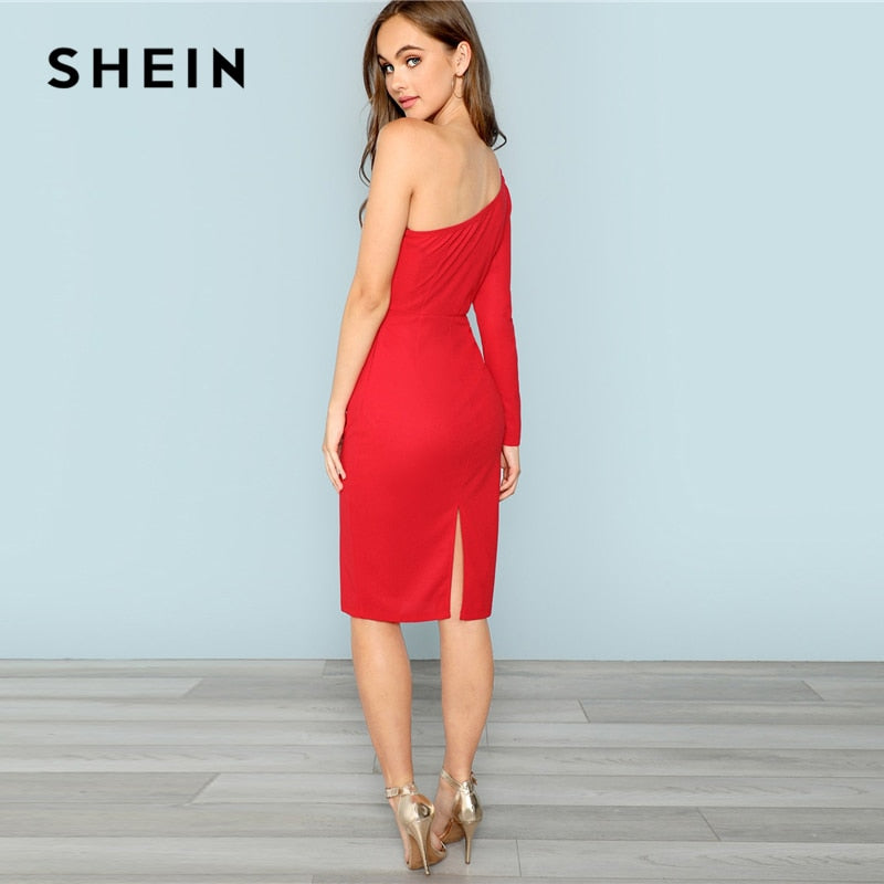 efa8c99d63 SHEIN Red One Shoulder Bow Front Pencil Dress Bodycon Long Sleeve Knee  Length Slim Dresses Women Plain Autumn Party Dress – Beal | Daily Deals For  Moms