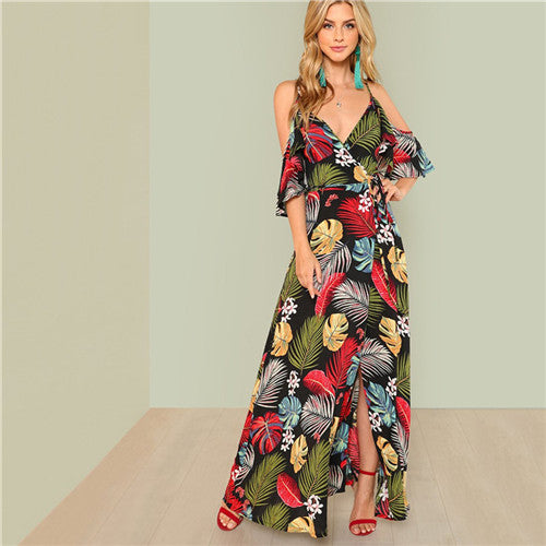 e093f6051ea Summer Boho Floral Print Sexy Deep V Neck Open Shoulder Maxi Dress Women  Beach Vacation