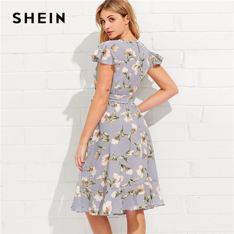 2120d28c8f SHEIN Tie Neck Ruffle Hem Calico Dress 2018 Summer Fit and Flare Short Dress  Women Cap Sleeve A Line Floral Vacation Dress – Beal | Daily Deals For Moms