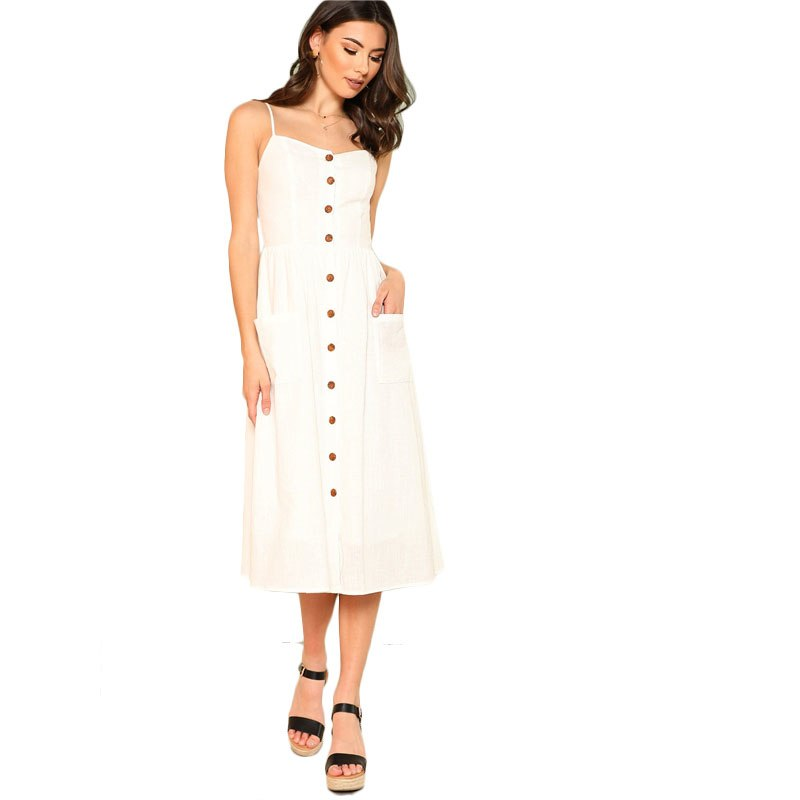 SHEIN White Pocket Patched Button Up Cami Dress Women Spaghetti ... 3945d26f79
